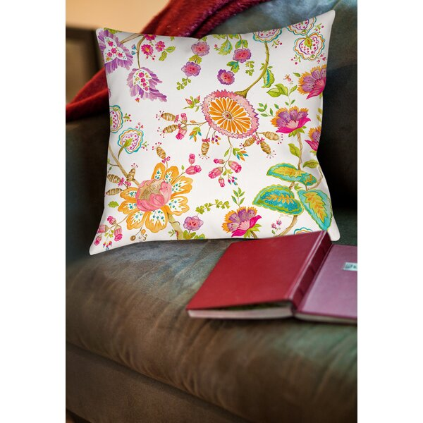 White Anima Printed Throw Pillow by Manual Woodworkers & Weavers