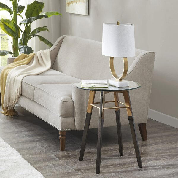 Holborn Glass Top 4 Legs End Table by Brayden Studio Brayden Studio