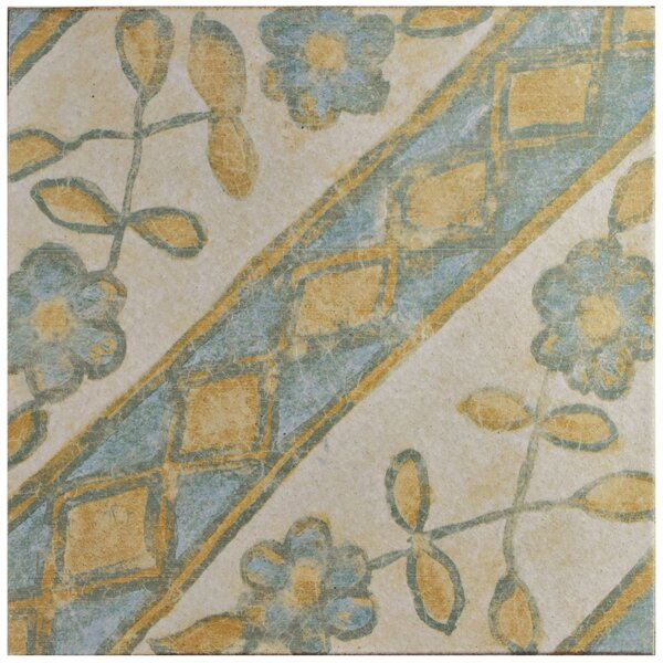 Shale 12.75 x 12.75 Ceramic Field Tile in Blue/Yellow by EliteTile