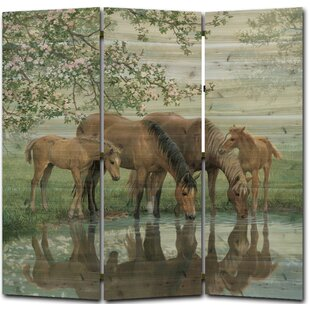 Sweet Spring Horses 3 Panel Room Divider By WGI-GALLERY