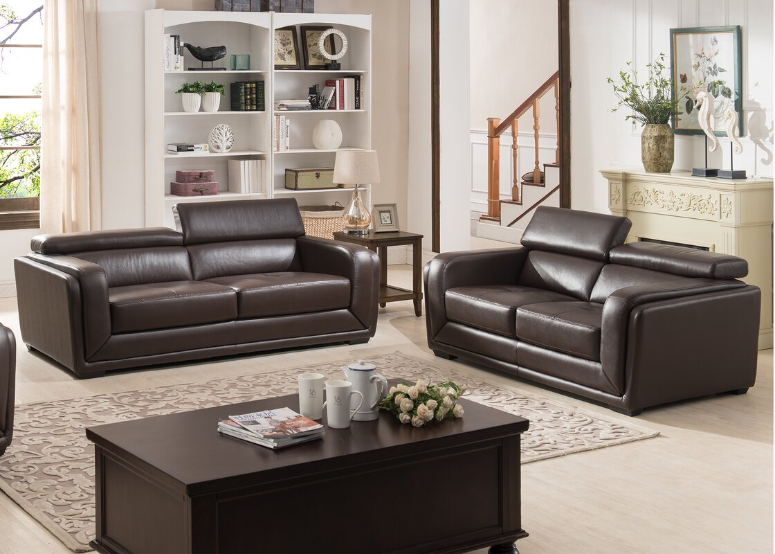 Ac pacific calvin 2 piece leather living room set reviews 2 piece leather living room set