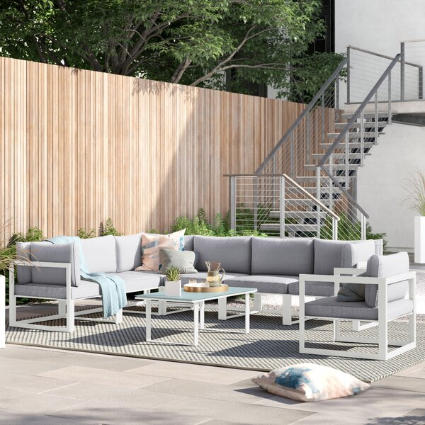 Annemarie 8 Piece Sectional Seating Group with Cushions by Foundstone