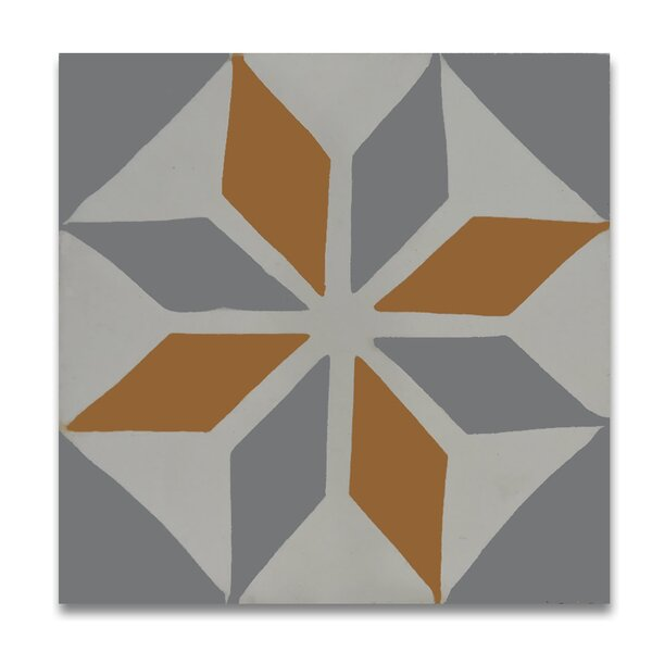 Assila 8 x 8  Handmade Cement  Tile in Gray/Orange by Moroccan Mosaic