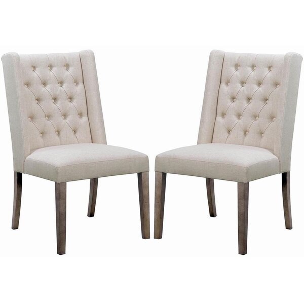 Inverness Tufted Linen Upholstered Wingback Side Chair in Beige (Set of 2) by Red Barrel Studio Red Barrel Studio®