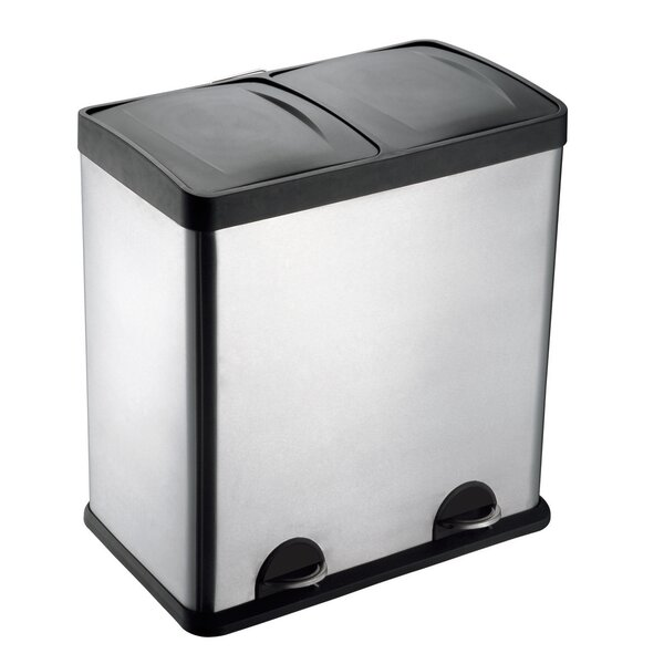 Stainless Steel 13 Gallon Step On Multi Compartments Recycling Bin by Step N Sort