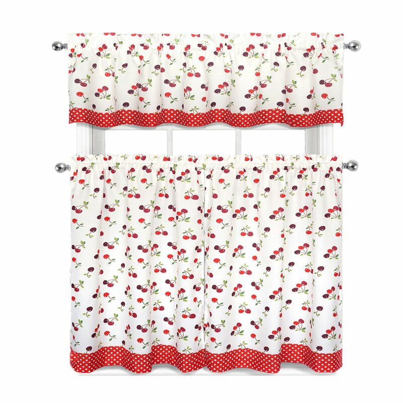 Cherries & Polka Dots 3 Pc Curtain Set