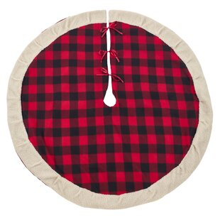 buffalo plaid sherpa tree skirt - Buffalo Plaid Christmas Decor