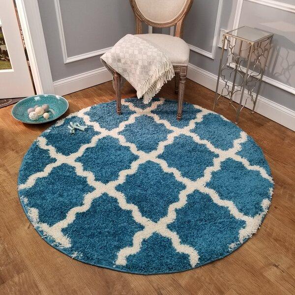 Burns Trellis Contemporary Blue/Ivory Shag Area Rug by Zipcode Design