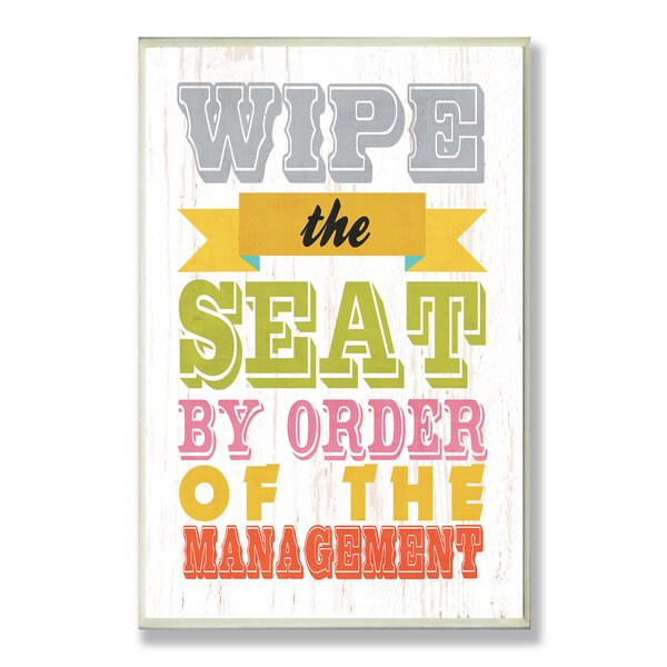 Wipe the Seat Rainbow Typography Bathroom Wall Plaque by Stupell Industries