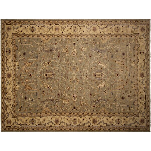 Badham Hand-Knotted Wool Light Green/Ivory Area Rug by Bloomsbury Market