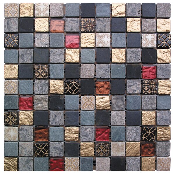 Natural Splendor 1 x 1 Glass and Natural Stone Mosaic Tile in 5 Color Blend by Intrend Tile
