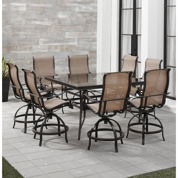 Carlee 9 Piece Counter Height Outdoor Dining Set by Fleur De Lis Living