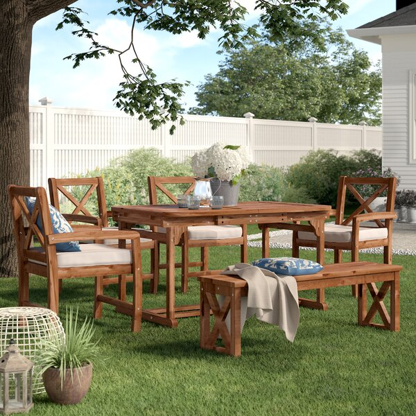 Tim X-Back 6 Piece Dining Set with Cushions by Birch Lane™ Heritage