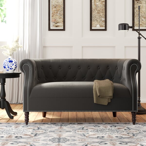 Home Décor Quinones Chesterfield 54 Inches Rolled Arms Loveseat