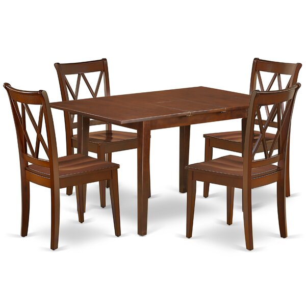Lambright 5Pc Rectangular 48/60 Inch Table With 12 In Leaf And 4 Double X Back Chairs by August Grove