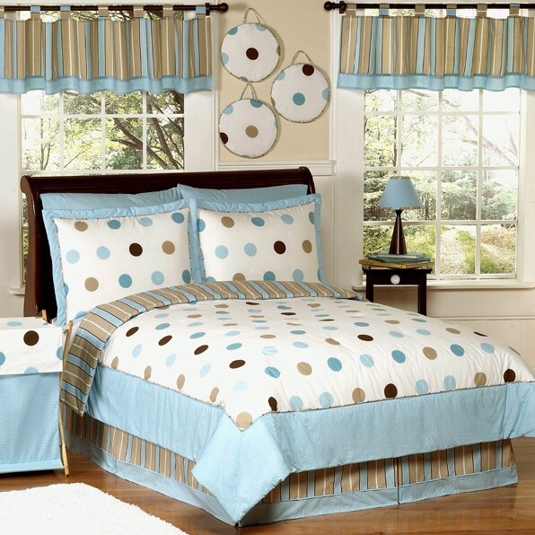 Mod Dots Blue Kid Bedding Comforter Collection by Sweet Jojo Designs