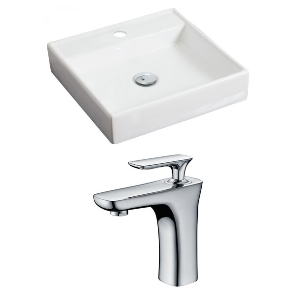 Ceramic 18 Square Wall Mount Bathroom Sink with Faucet