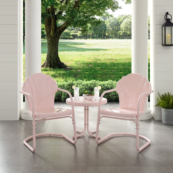 Tarbox Metal Outdoor 3 Piece Seating Group Set by Wrought Studio
