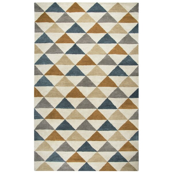 Hargis Hand-Tufted Wool Beige/Navy Area Rug by Ivy Bronx