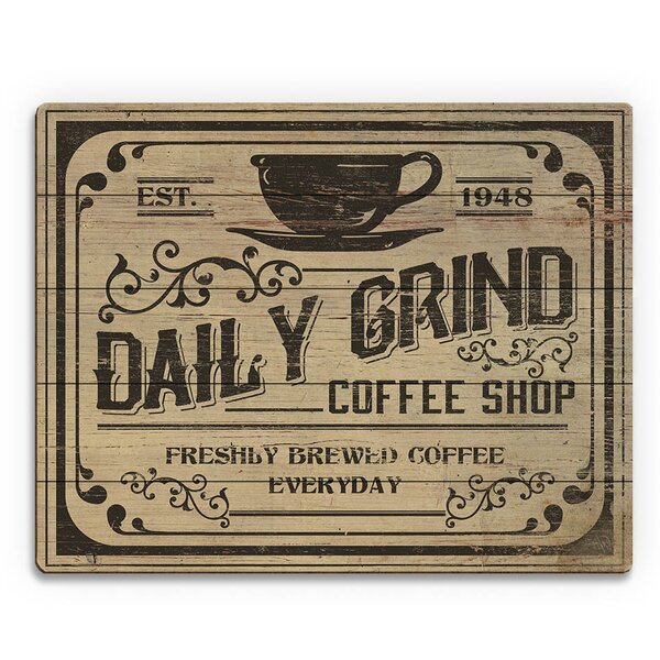 Daily Grind Coffee Shop Vintage Advertisement on Plaque by Click Wall Art