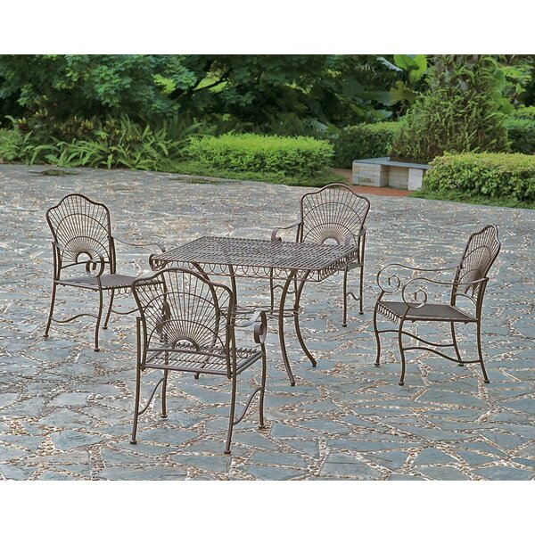 Nocona 5 Piece Iron Patio Dining Set by Fleur De Lis Living