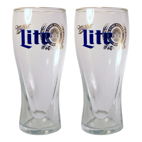 Miller Lite 16 Oz. Glass Pint Glasses (Set of 2) by Boelter Brands