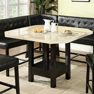 Piss Marble Top Wooden Counter Height Dining Table