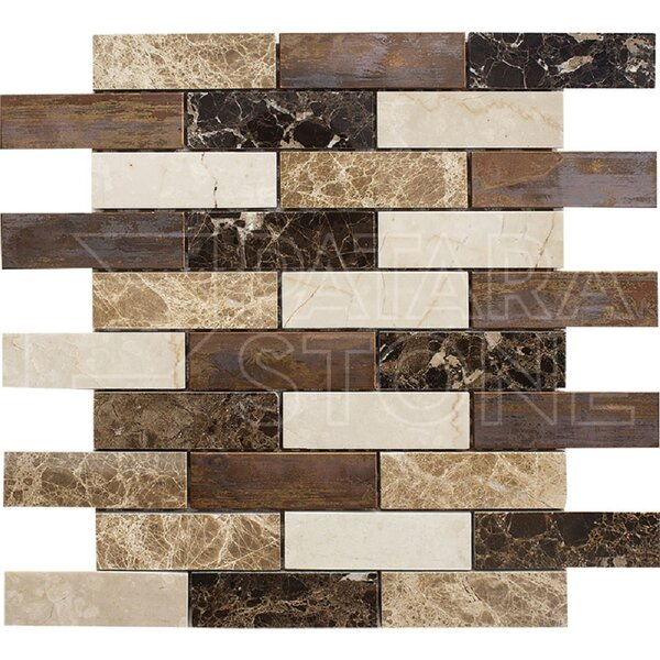 Vintage 1 x 4 Natural Stone Mosaic Tile in Copper by Travis Tile Sales