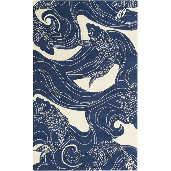 Sweetwood Navy/Beige Indoor/Outdoor Area Rug by Beachcrest Home