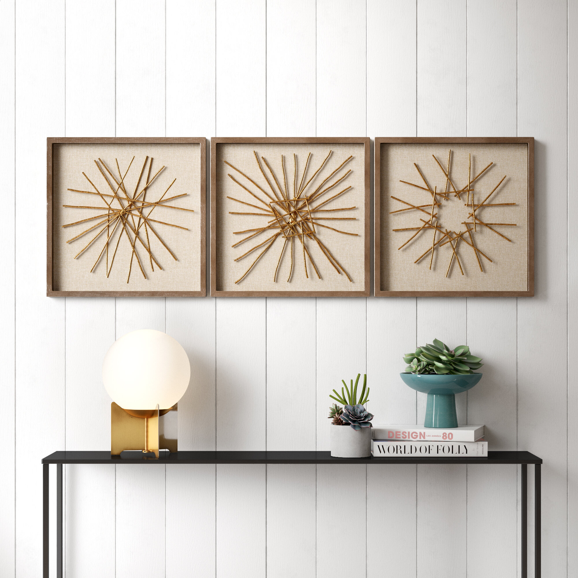 3 Piece Metal Wood Wall Décor Set