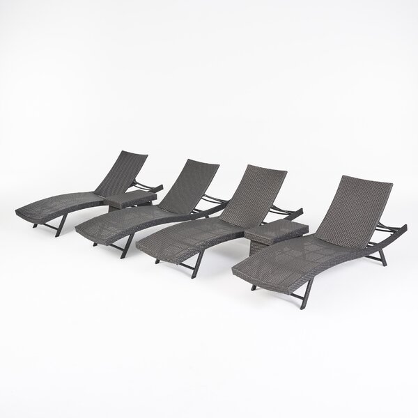 Noelle Reclining Chaise Lounge Set with Table