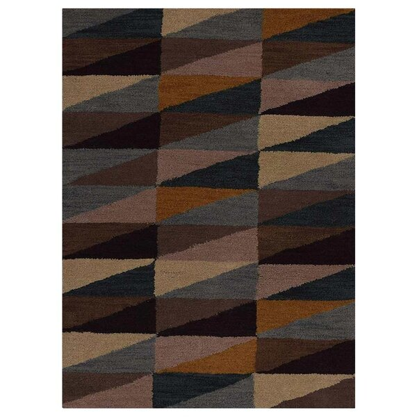 Chow Hand-Tufted Wool Black/Brown Area Rug by Corr