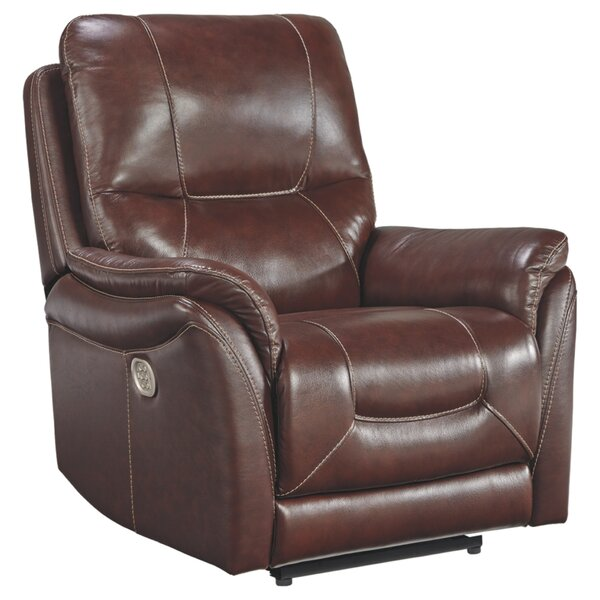 Pinkham Leather Power Recliner Red Barrel Studio W000738816