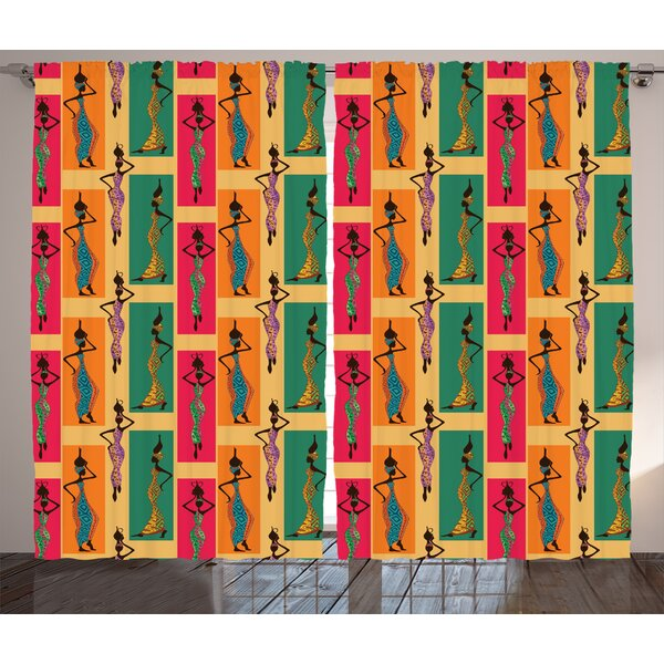 Woroud Afro Graphic Print and Text Semi-Sheer Rod Pocket Curtain Panels (Set of 2) by World Menagerie