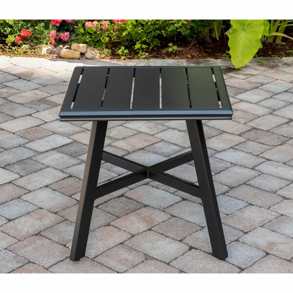 "Beaulieu All-Weather Commercial-Grade Aluminum 22"" Square Slat-Top Side Table by Charlton Home"