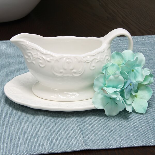 Merrill Embossed Durastone Gravy Boat with Saucer by Alcott Hill
