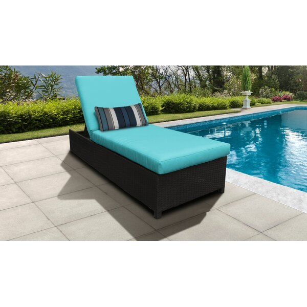 Fernando Wheeled Outdoor Wicker Reclining Chaise Lounge with Cushion by Sol 72 Outdoor