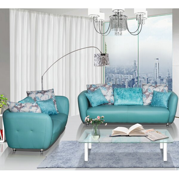 Review Sandee 2 Piece Leather Living Room Set