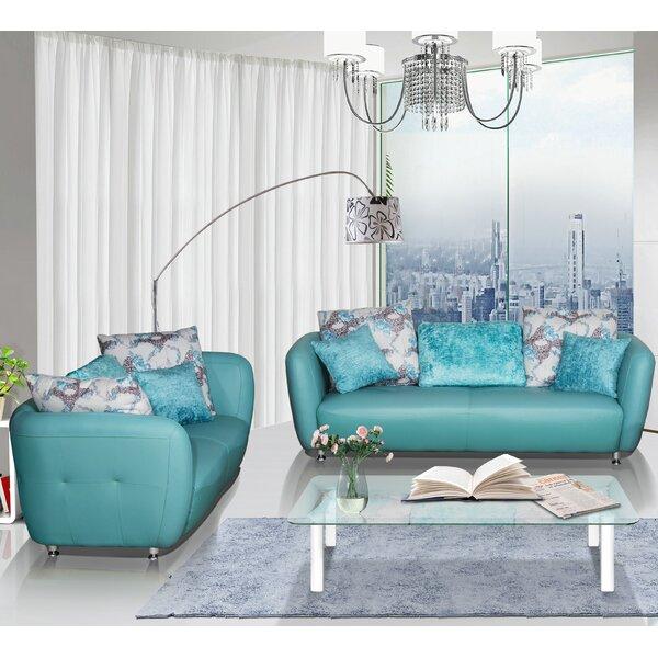 Discount Sandee 2 Piece Leather Living Room Set
