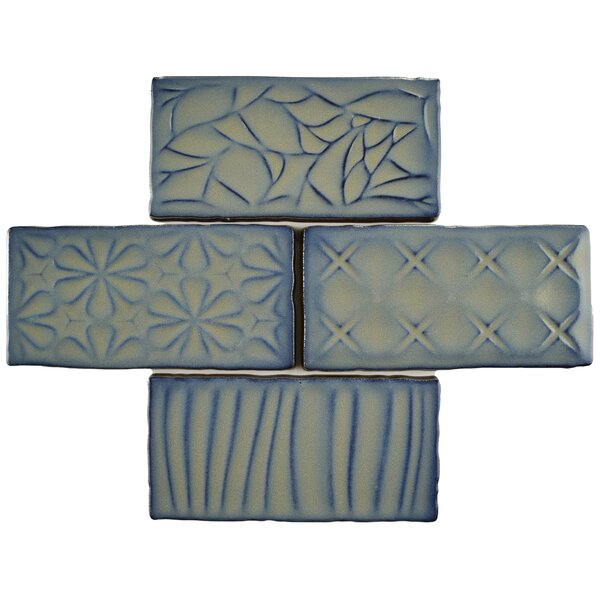 Antiqua Sensations 3 x 6 Ceramic Subway Tile in Gray/Navy by EliteTile