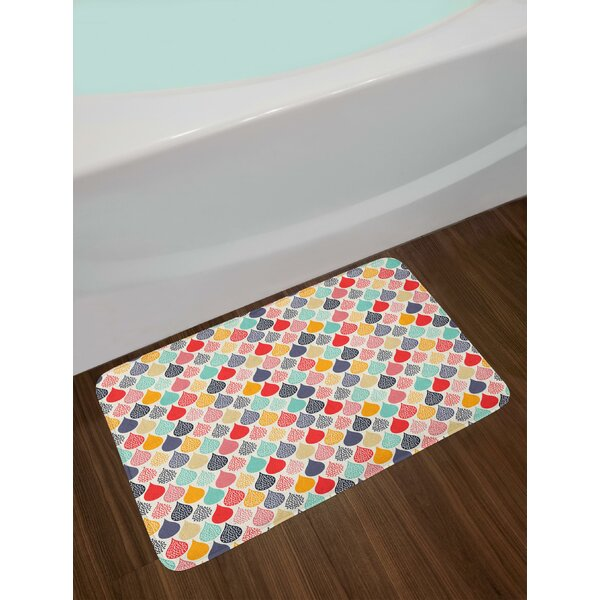 Raindrops Doodle Style Cute Creative Leaf Shaped Colorful Girls Kids Baby Theme Bath Rug by East Urban Home