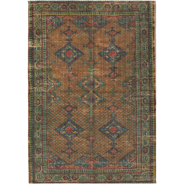 Lezama Hand-Woven Khaki/Bright Orange Area Rug by World Menagerie