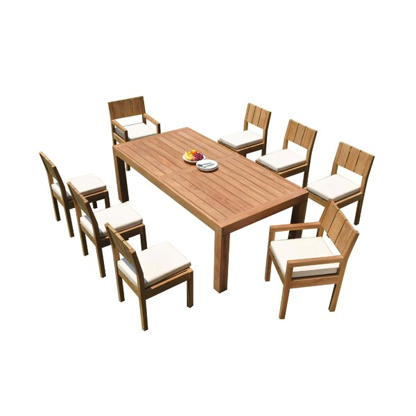 Macalla 9 Piece Teak Dining Set by Rosecliff Heights