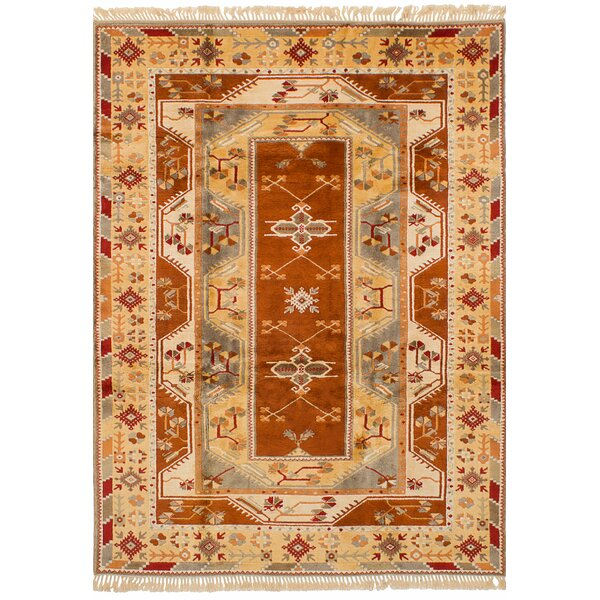 One-of-a-Kind Biddlesden Hand-Knotted Wool Beige/Burnt Orange Area Rug by Bloomsbury Market
