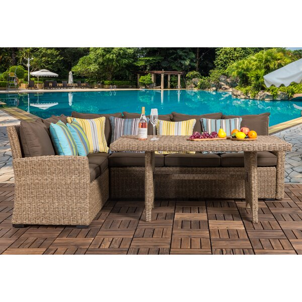 Zeiger 3 Piece Rattan Sectional Seating Group with Cushion by Bay Isle Home