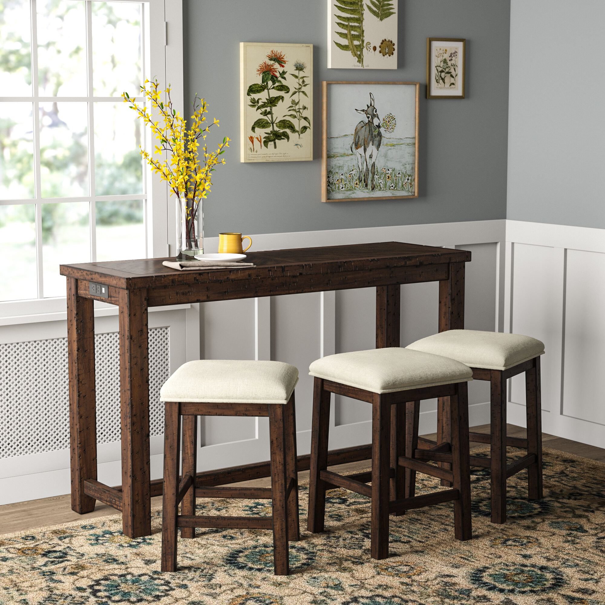 Picture of: Pub Table Black Breakfast Bar Stool Dining Set Marble Top Faux Leather Seat Wood Home Garden Kitchen Dining Bar Supplies
