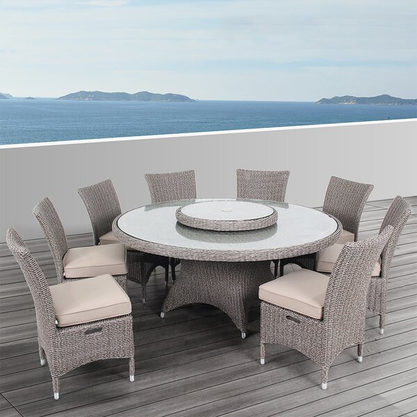 Habra II 9 Piece Dining Set with Cushions by Ove Decors