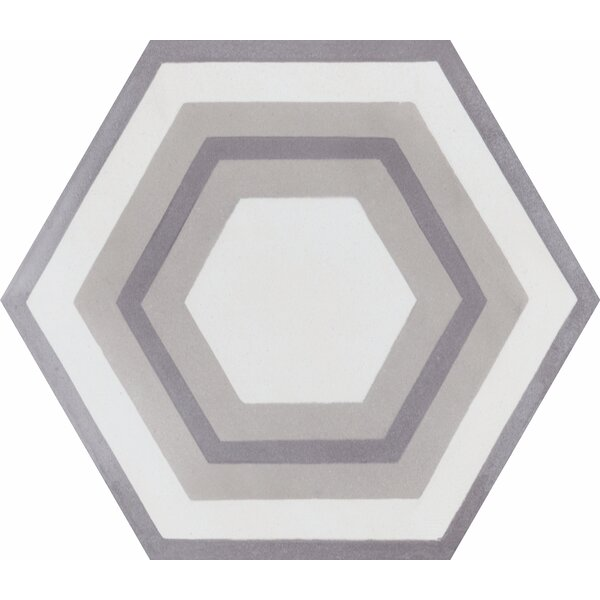 Concentric Hex J 8 x 8 Cement Field Tile in White/Gray by Villa Lagoon Tile
