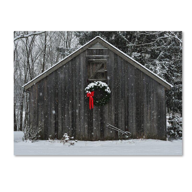 Trademark Art Christmas Barn In The Snow Framed Photo