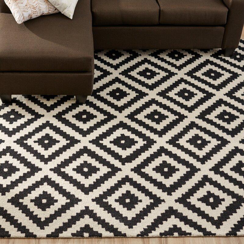 kelly black u0026 cream geometric wool handtufted area rug